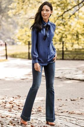 blue textired neck blouse