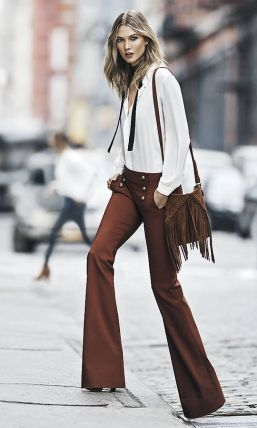flare pants and neck tie