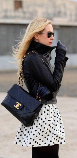 fall-fashion-leather-polka-dot-skirt