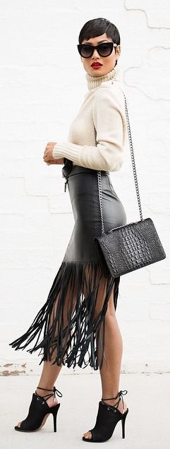 fringe leather skirt with turtleneck