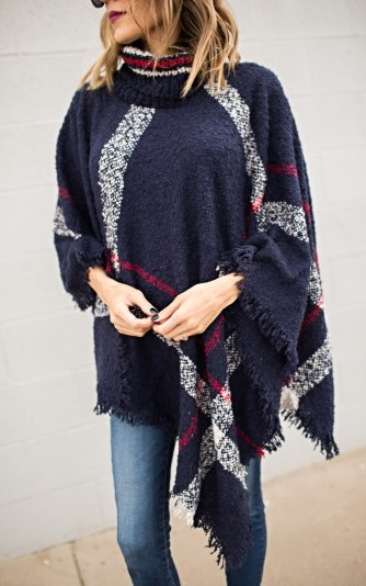 plaid cowl neck poncho 68
