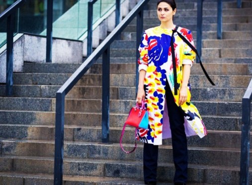 colorful coat with attaches black sashez