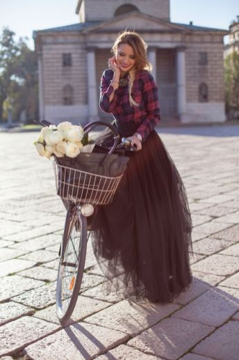 plaid on tulle