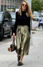 pleated olive skirt