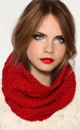 red lips and red scarf