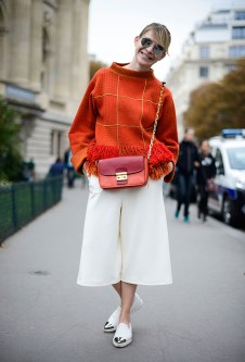 orange fringed sweater