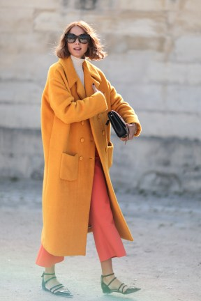 orange oversized coat