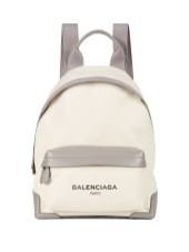 baLENCIAGA NAVY CANVAS LEATHER BACKPACK