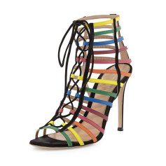 gianvito rossi x mary katrantzou rainbow strappy suede caged sandals