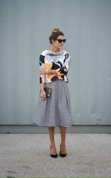 floral blouse with a line skirt