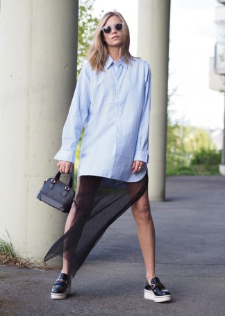 shirtdress and long skirt