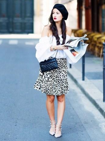 feminine blouse and midi leopard skirt