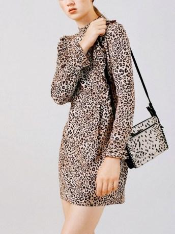 topshop leopard print ruffle dress
