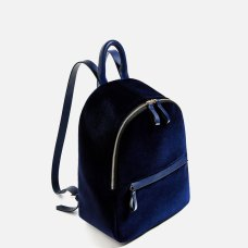 velvet backpack navy blue