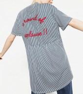 zara embroidered striped t shirt