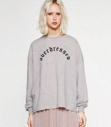 zara text print sweatshirt