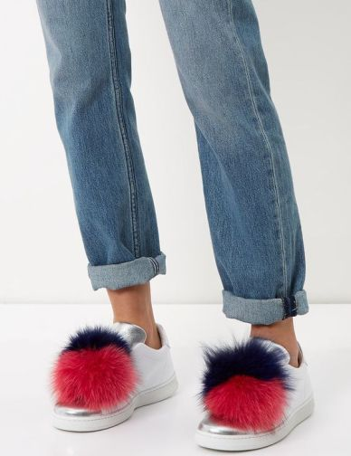 fur pom pom slip on sneakers joshua sanders