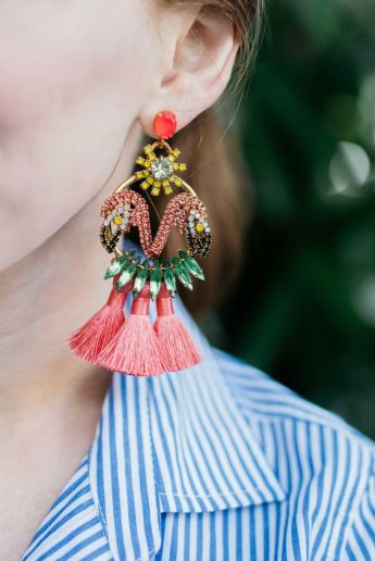 statement earrings and stripes