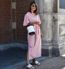 bucket bag stripes and slide on sandals