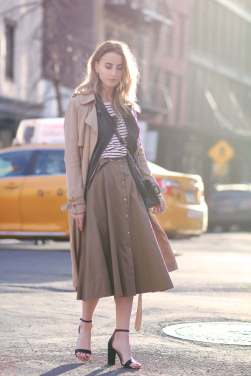 button front and trench coat