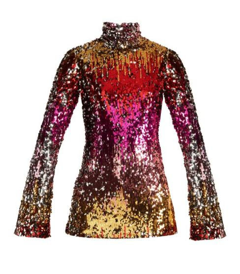 halpern high neck sequin embellished top