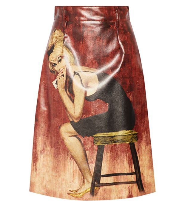 prada printed coated cotton midi skirt