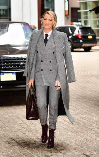 blake-lively-style-ralph-lauren-collection-glen-plaid-coat-blazer-pants