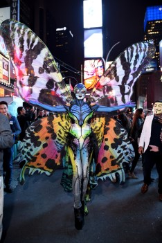 NEW YORK, NY - OCTOBER 31: Heidi Klum gives Times Square visitors a sneak peek of her Halloween costume before hosting her annual party at TAO Downtown sponsored Bby Moto X on October 31, 2014 in New York City. (Photo by Dimitrios Kambouris/Getty Images for Heidi Klum)