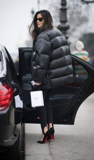 stirup leggings and puffer jacket