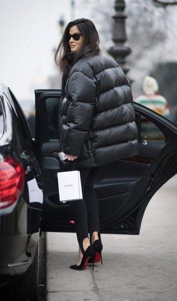 stirup leggings and puffer jacket