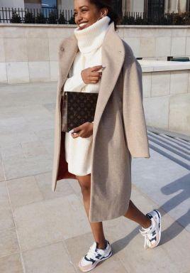lomg camel coar aand cream colored dress sweater