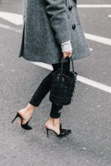 bucket bag and mules
