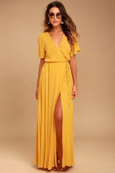 yellow wrap maxi dress
