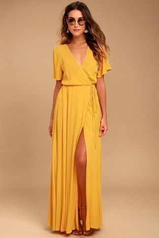 yellow wrap maxi dress
