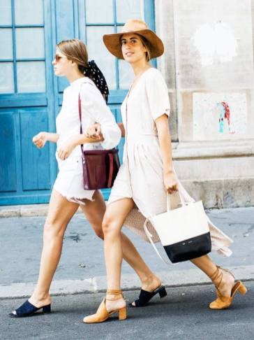 white clothing with tan accessories