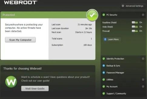 Webroot SecureAnywhere AntiVirus Free License Key for 180 Days