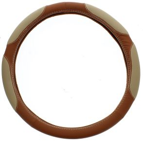 ABN Brown PVC Leather Steering Wheel Cover