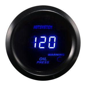"""Hotsystem Universal 2"""" 52mm Black Oil Pressure Gauge Digital Blue Led"""
