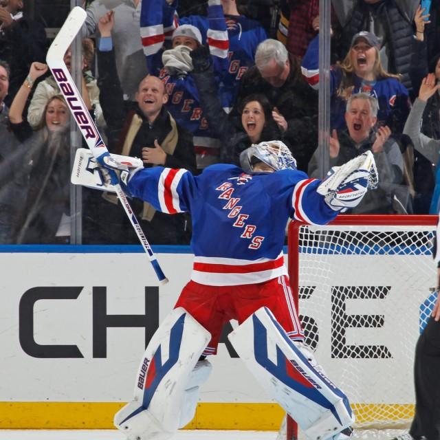 Goaltender Henrik Lundqvist exults as the Rangers advance to the Stanley Cup  Finals. 783fda388