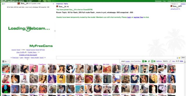 Picture of MyFreeCams Home Page