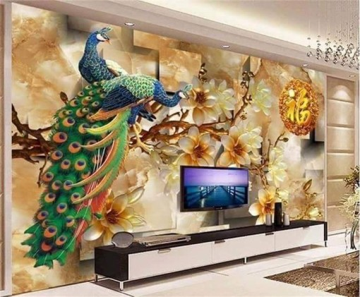 Peacock Inspired Gold Patterned Background Wall Mural