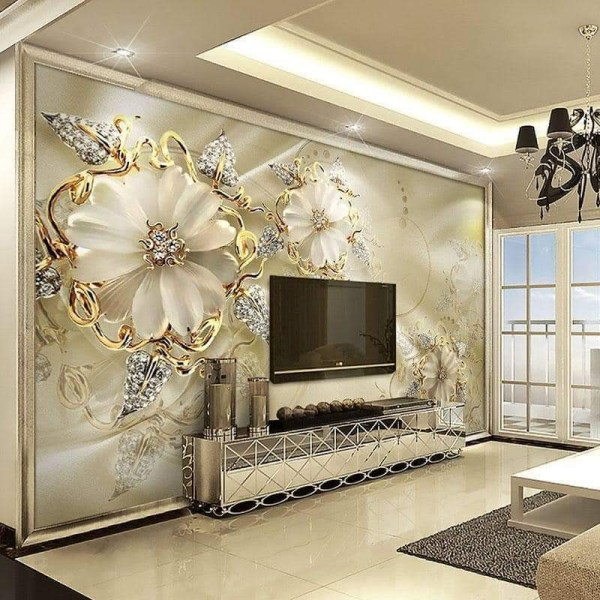 Wall Mural With Flowery Diamond and Gold Petal