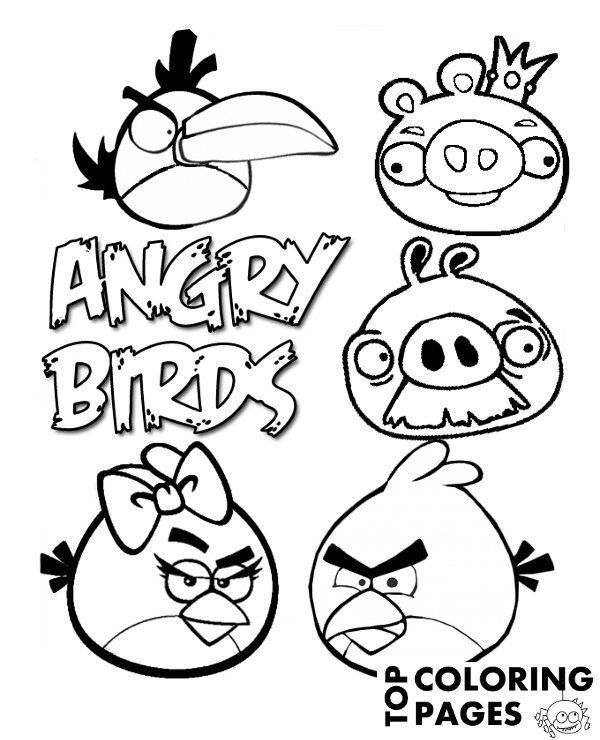 Angry Birds coloring page to print or download for free