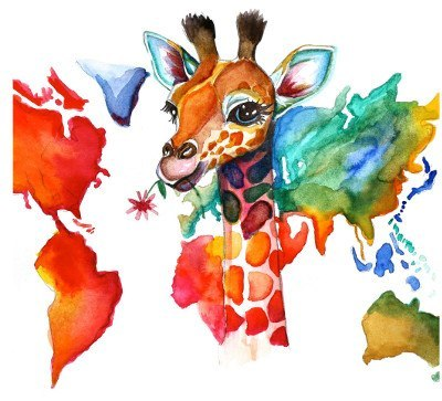 World colour and giraffe