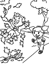 Automn girl street coloring books