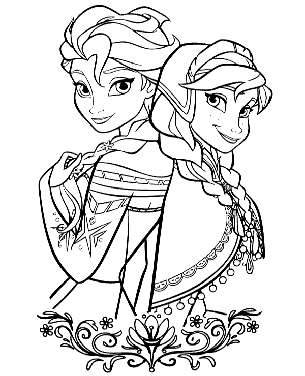 High-quality Frozen Elsa & Anna to print for free
