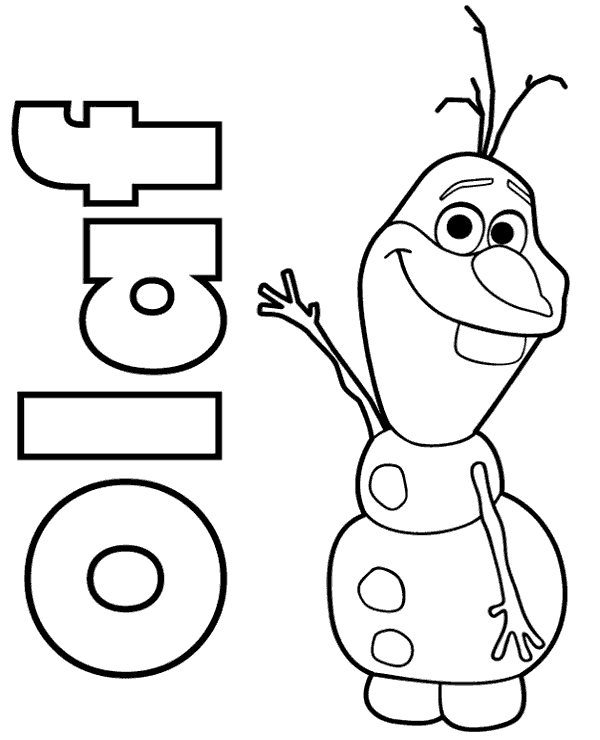 Coloring sheet presenting Snowman Olaf, print now