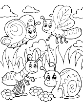 Picture with worms for children