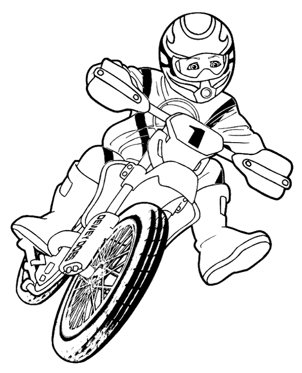High-quality Boy riding motorbike to color to print for free