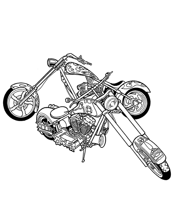 High-quality Harley Davidson motorbikes to color to print